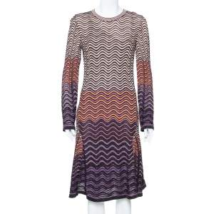 M Missoni Multicolor Lurex Wave Knit Flared Long Sleeve Dress L