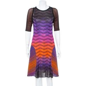 M Missoni Multicolor Knit Paneled Midi Dress L