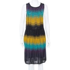 M Missoni Muticolor Chevron Patterned Pointelle Knit Dress L