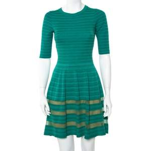 M Missoni Green Striped Knit Fit & Flare Dress S