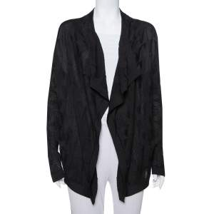 M Missoni Black Knit Waterfall Collar Open Front Cardigan L