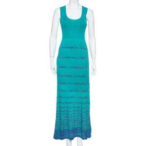 M Missoni Blue Knit Sleeveless Maxi Dress S