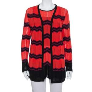 M Missoni Red & Black Zig Zag Pattern Knit Tank Top & Open Front Cardigan L