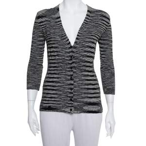 M Missoni Monochrome Knit Button Front Cardigan M