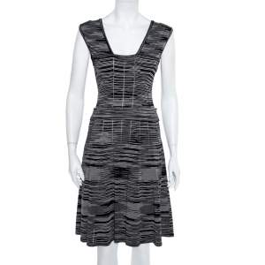 M Missoni Monochrome Knit Sleeveless Flared Midi Dress M