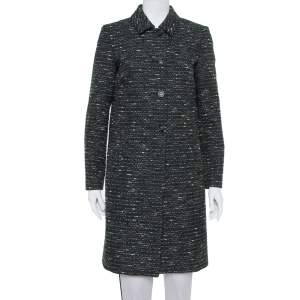 M Missoni Black Tweed Button Front Mid Length Coat M