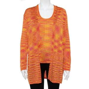M Missoni Orange Lurex Knit Tank Top & Open Front Cardigan L