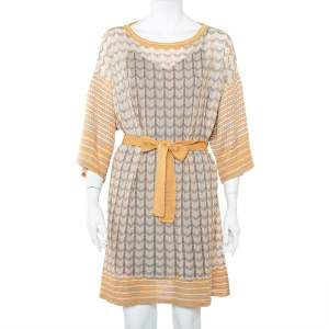 M Missoni Multicolor Patterned Perforated Knit Boat Neck Belted Dress L