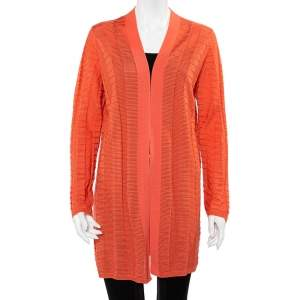 M Missoni Peach Chevron Paneled Wool Knit Open Front Cardigan XL