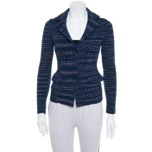 M Missoni Navy Blue Jacquard Knit Button Front Blazer S
