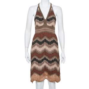 M Missoni Multicolor Lurex Knit Open Back Mini Dress L