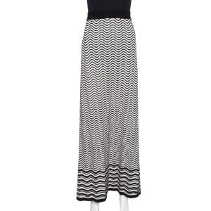 M Missoni Monochrome Wave Patterned Knit Maxi Skirt M