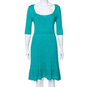 M Missoni Teal Green Knit Scoop Neck Skater Dress L