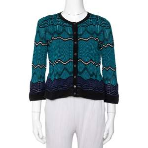 M Missoni Multicolor Knit Button Front Crop Top S