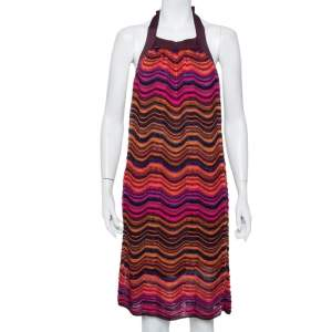 M Missoni Multicolor Wave Pattern Lurex Knit Halter Neck Shift Dress M