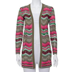 M Missoni Multicolor Knit Open Front Cardigan M