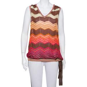 M Missoni Brown Chevron Patterned Knit Waist Tie Detail Top L