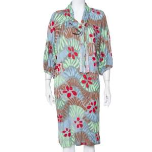 M Missoni Grey Floral Printed Neck Tie Detail Dress L