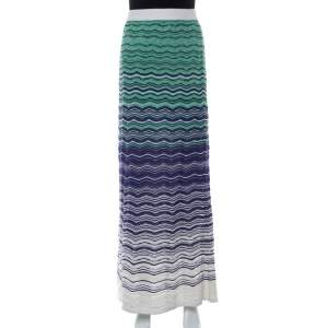 M Missoni Green And Blue Wave Knit Maxi Skirt S