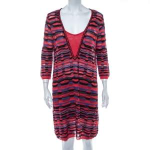 M Missoni Multicolor Patterned Knit Shift Dress L