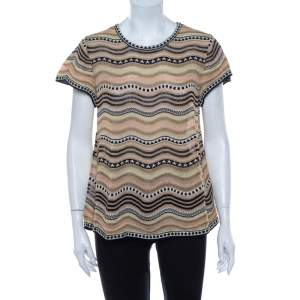 M Missoni Multicolor Wave Patterned Lurex Knit Top M