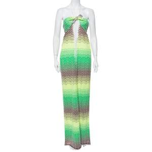M Missoni Multicolor Chevron Patterned Knit Halter Neck Maxi Dress M