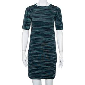 M Missoni Black Striped Wool T-Shirt Dress S