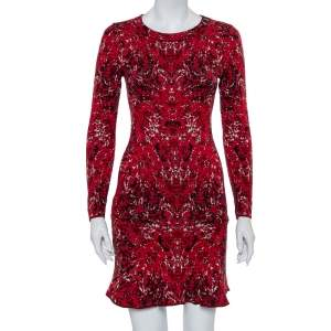M Missoni Red Jacquard Knit Flared Hem Long Sleeve Mini Dress M