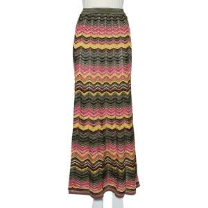تنورة أم ميزوني ماكسي تريكو لوركس نمط متعرج متعددة الألوان مقاس صغير