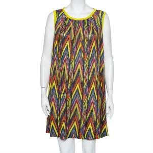M Missoni Multicolor Printed Linen Sleeveless Oversized Shift Dress S
