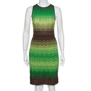 M Missoni Multicolor Wave Patterned Knit Sleeveless Midi Dress S