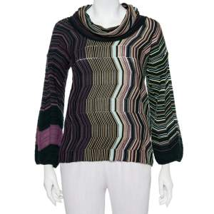 M Missoni Multicolor Patterned Knit Cowl Neck Sweater M