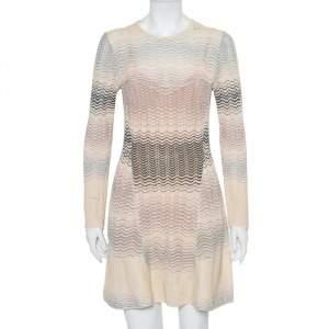 M Missoni Beige Patterned Knit Paneled Mini Dress L
