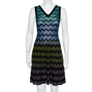M Missoni Multicolor Patterned Knit Sleeveless Mini Dress S