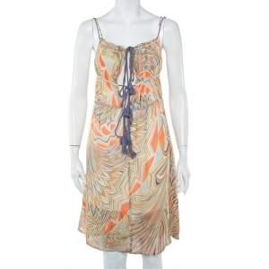 M Missoni Multicolor Printed Silk Sleeveless Tie Detail Midi Dress S