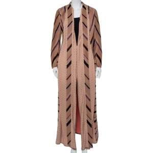 M Missoni Beige Alpaca Wool & Pointelle Knit Trim Long Coat S