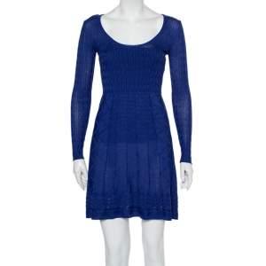 M Missoni Blue Patterned Knit Scoop Neck Skater Dress S