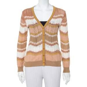 M Missoni Beige Patterned Knit Button Front Cardigan M