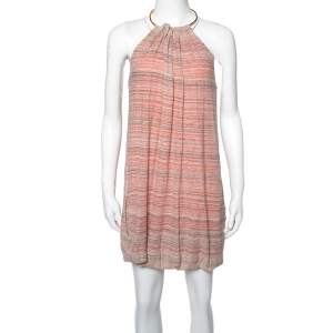 M Missoni Multicolor Linen Knit Halter Neck Mini Dress S