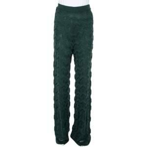 M Missoni Dark Green Patterned Knit Palazzo Pants S