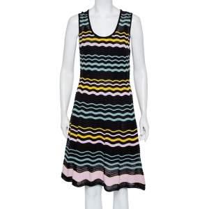 M Missoni Multicolor Wave Patterned Knit Sleeveless Mini Dress L