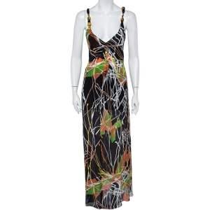 فستان ماكسي أم ميزوني حرير طباعة متعددة الألوان بلا أكمام مقاس متوسط - ميديوم