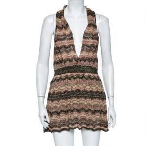 M Missoni Brown Lurex Knit Faux Wrap Mini Dress M