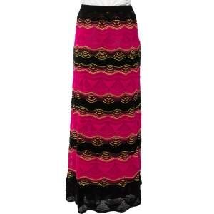 M Missoni Pink & Black Wavy Pointelle Knit Maxi Skirt S