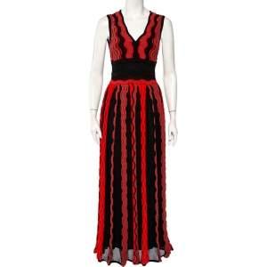 M Missoni Black & Red Knit Pleated Sleeveless Maxi Dress S