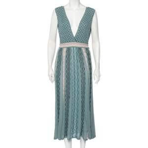M Missoni Grey Patterned Knit Plunge Neck Midi Dress L