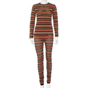M Missoni Multicolor Patterned Knit Long Sleeve Sheer Top & Leggings M