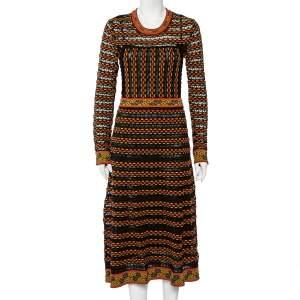 M Missoni Multicolor Patterned Knit Long Sleeve Midi Dress M