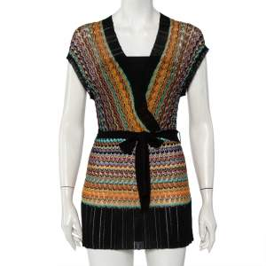 M Missoni Multicolor Patterned Knit Belted Mini Faux Wrap Dress S