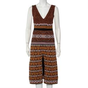 M Missoni Multicolor Patterned Lurex Knit Plunge Neck Sleeveless Midi Dress S